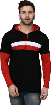 SHAPPHR Color Block Men Hooded Red, Black T-Shirt