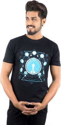 IAD Stylez Printed Men Round Neck Black T-Shirt