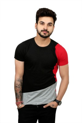 The EG Store Color Block Men Round Neck Grey T-Shirt