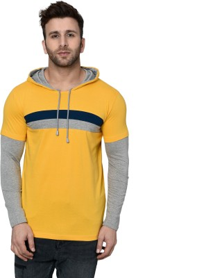 Gritstones Color block Men Hooded Yellow T-Shirt