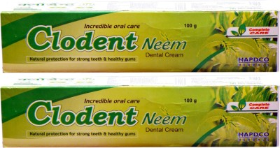 HAPDCO CLODENT NEEM DENTAL CREAM-NATURAL PROTECTION FOR STRONG TEETH & NATURAL GUMS(PACK OF 2) Toothpaste(200 g, Pack of 2)