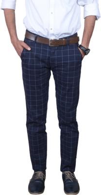 Indian Terrain Slim Fit Men Blue Trousers