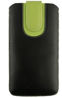 Emartbuy Pouch for LG Optimus G Pro E985(Black, Green Plain)