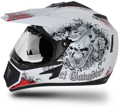 VEGA Off Road D/V Gangster Motorbike Helmet(Red, White)