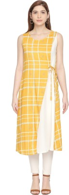 Rangmanch by Pantaloons Women Solid Flared Kurta(Yellow)