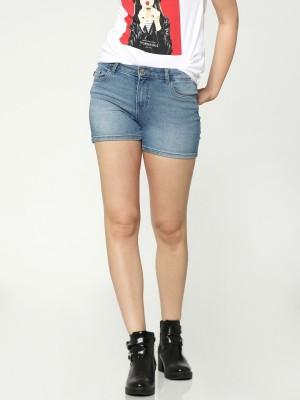 Forest Club Solid, Self Design Women Black, Blue Basic Shorts, Night Shorts