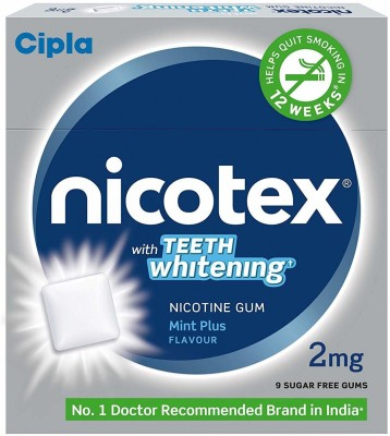 Cipla Nicotex Nicotine Gum - 2 Mg (9X10 Pcs Teeth Whitening) 24 hour patch Smoking Patch(Pack of 0)