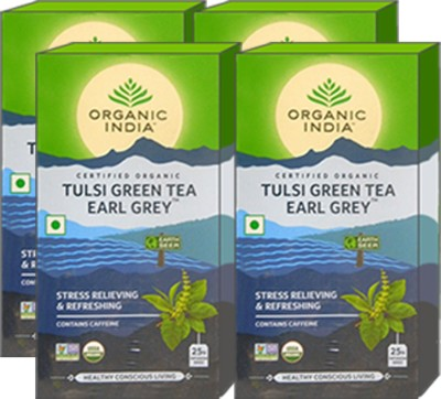Organic India Tulsi Green Tea Earl Grey 25 Tea Bags- (Pack Of 4) Tulsi Herbal Tea Bags Box(100 Bags)