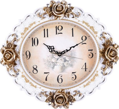 Chronikle Analog 43 cm X 8 cm Wall Clock(White, Brown, With Glass) at flipkart