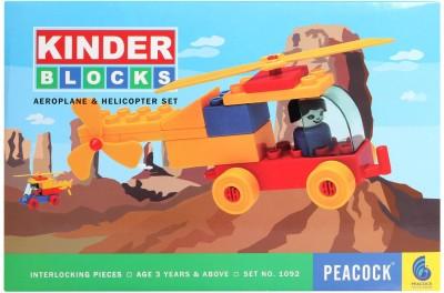 Peacock KINDER BLOCKS AEROPLANE AND HELICOPTER SET Multicolor Peacock Blocks   Building Sets