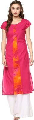 Krapal Casual Floral Print Women Kurti(Pink, Orange)
