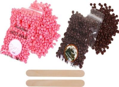 BeautyQua Rose 100gm and Chocolate 100gm Brazilian Depilatory Hard Bean Bikini Wax with 2 Wax Applicator Wax(200 g)