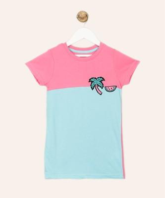 Chemistry Girls Solid Cotton Blend T Shirt(Light Blue, Pack of 1) at flipkart