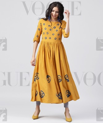 Nayo Women Printed Flared Kurta(Yellow) at flipkart