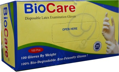 Biocare Disposable Latex Examination Gloves Box of 100 - Small Latex Examination Gloves(Pack of 100)