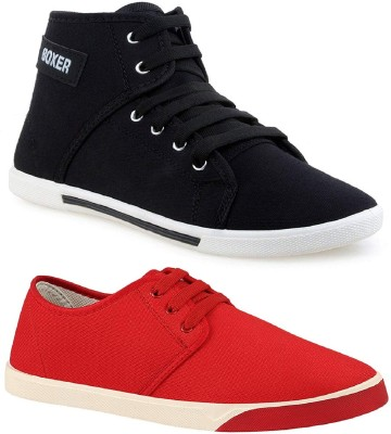 Chevit Combo Pack of 2 Casual Shoes High Tops For Men(Red, Black)