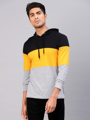 Maniac Color block Men Hooded Yellow, Black, Grey T-Shirt