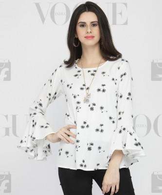 DARZI Casual Bell Sleeve Floral Print Women's White Top