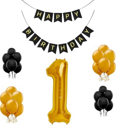 Tiank Innovation Combo for Birthday Party Decoration (Black & Gold Happy Birthday Bunting Flag Banner + 1 Number Gold Foil Balloon + 30 Pcs Gold & Black Metallic Balloon) (1 Number Combo)(Set of 3)