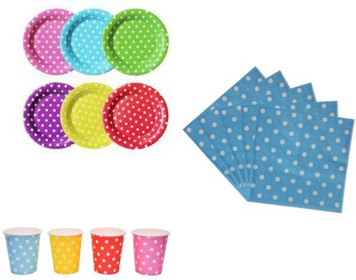 Shopkooky Disposable Paper Plates (10) + Paper Cups (10) + Paper Napkins (20) Set for Perfect Themed Party