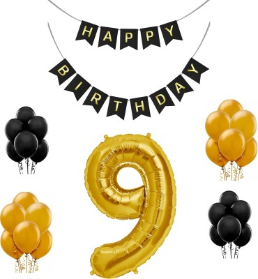 Tiank Innovation Combo for Birthday Party Decoration (Black & Gold Happy Birthday Bunting Flag Banner + 9 Number Gold Foil Balloon + 30 Pcs Gold & Black Metallic Balloon) (9 Number Combo)(Set of 3)