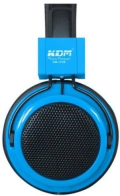 Trendycart KDM 17DS Wired Universal Stereo Headphone - Blue Wired Headset with Mic(Blue, Over the Ear)
