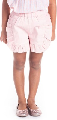 Cherry Crumble California Short For Girls Casual Solid Cotton Blend(Pink, Pack of 1)