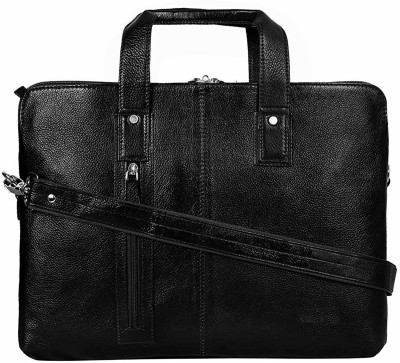 C Comfort 14 inch Expandable Laptop Messenger Bag(Black)