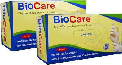 Biocare Disposable Latex Examination Gloves Box of 100 - Small Set of 2 Latex Examination Gloves(Pack of 200)