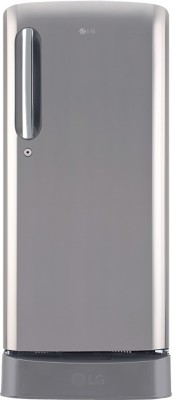LG 190 L Direct Cool Single Door 4 Star Refrigerator with Base Drawer(Shiny Steel, GL-D201APZY)