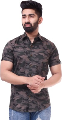 BASE 41 Men Printed Casual Black, Grey Shirt