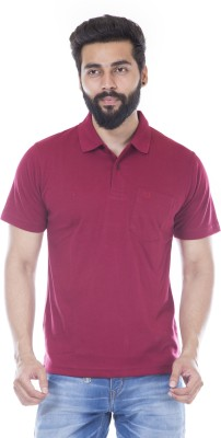 JG FORCEMAN Solid Men Polo Neck Maroon T-Shirt