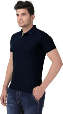Jane Ashe Solid Men Polo Neck Blue T-Shirt
