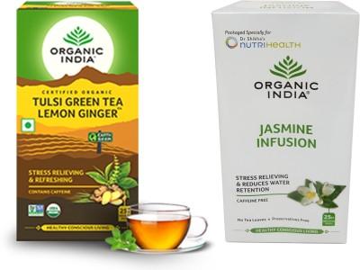 Organic India Tulsi Green Tea Lemon Ginger 25 Tea Bags & Jasmine Tea 25 Infusion Bags Jasmine Herbal Tea Bags Box(50 Bags)