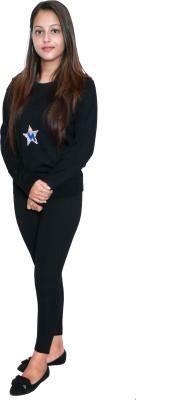 Miss 18 Casual Full Sleeve Printed Women Black Top