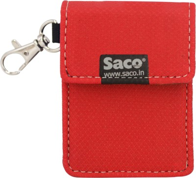 Saco Pouch for Earphone, Pen Drives, MP3 Player and Multi Purpose Pocket Storage Travel Organizer with Keychain(Red)