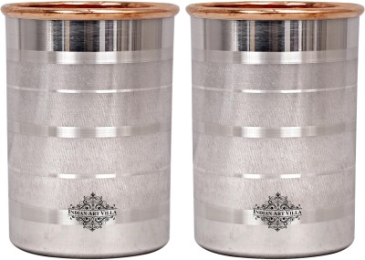 IndianArtVilla Set of Steel Copper Glass,Luxury Design,Each 250 ML Glass Set(Steel, 250 ml, Silver, Brown, Pack of 2)