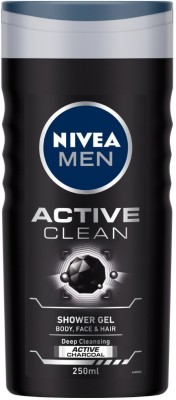 NIVEA Body Wash, Active Clean with Active Charcoal, Shower Gel for Body, Face & Hair(250 ml)