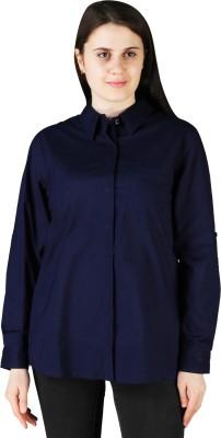 Vanheusen Women Solid Formal Blue Shirt
