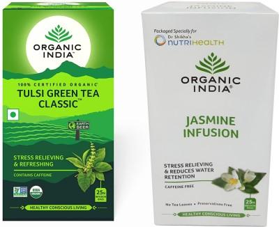 Organic India Tulsi Green Tea Classic 25 Tea Bags & Jasmine 25 Tea Bags Jasmine Herbal Tea Bags Box(50 Bags)