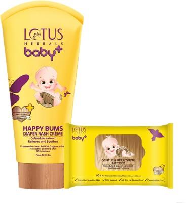 Lotus herbals Baby+ Happy Bums Diaper Rash Crme 100 gms & Gentle & Refreshing Baby Wipes 10 Count Combo Set(Set of 2)