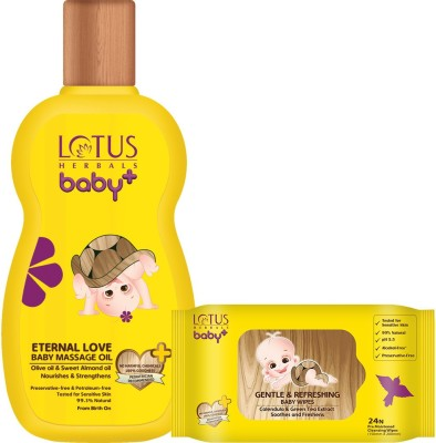 Lotus herbals Baby+ Eternal Love Baby Massage Oil & Gentle 220 ml and Refreshing Baby Wipes 24 Count Combo Set(Set of 2)