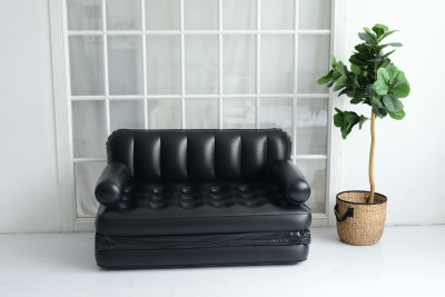 Furn Central PVC (Polyvinyl Chloride) 2 Seater Inflatable Sofa(Color - Black)