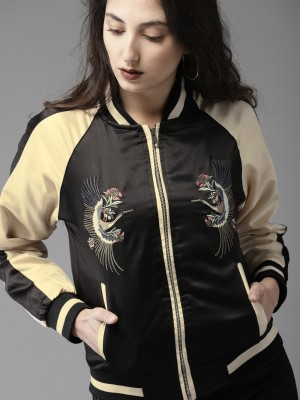 HERE&NOW Full Sleeve Colorblock, Embroidered Women Jacket at flipkart