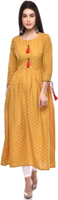 GLAM ROOTS Women Printed Flared Kurta(Yellow, White) at flipkart