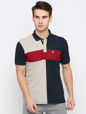 BULLMER Color Block Men Polo Neck Dark Blue T-Shirt