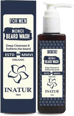 Inatur Men Monoi Beard Wash 100ml Organic Deep Cleanses and Softens The Beard Travel Shaving Kit(Cream color)