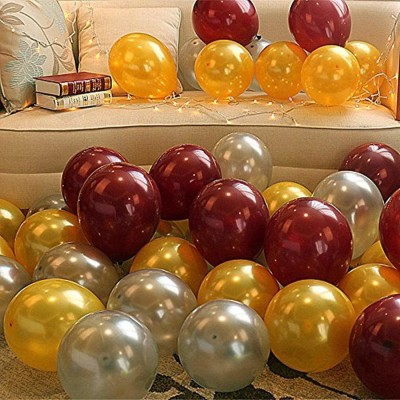 KSM Solid K S M Latex Metallic HD Balloons (Golden/Silver & Brown_Pack of 50) Balloon(Gold, Silver, Brown, Multicolor, Pack of 50)