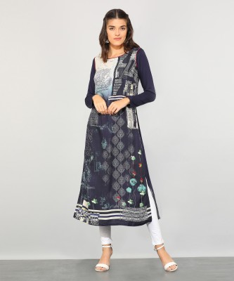 Biba Women Printed Straight Kurta(Beige) at flipkart