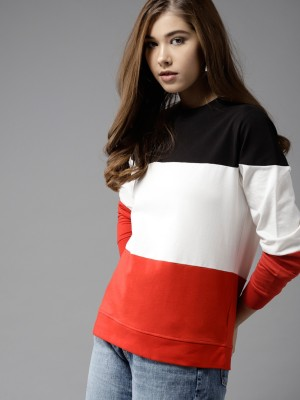 HERE&NOW Full Sleeve Colorblock Women Sweatshirt